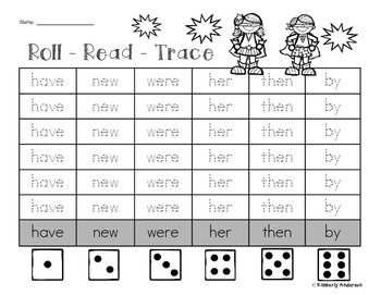 Roll - Read - Trace: Primer / 1st Grade Sight Word Practice (Super Heroes)