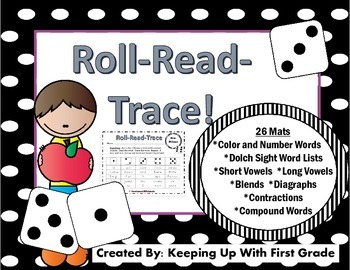 Roll-Read-Trace Sight Word Mats