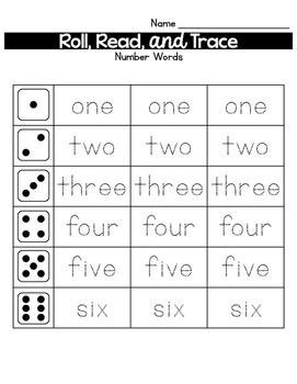 Roll, Read, and Trace Sight Word Sampler