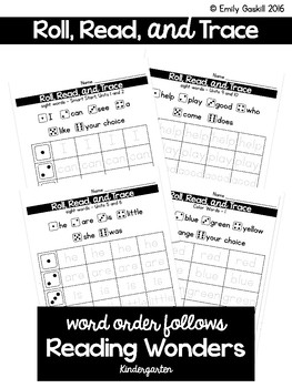 Roll, Read, and Trace Sight Words (Kindergarten Reading Wonders)
