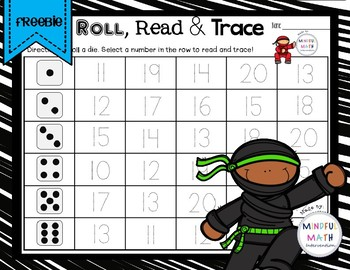 Roll, Read & Trace Teen Numbers