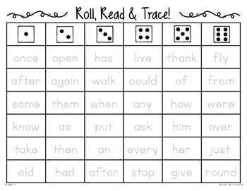 Roll, Read & Trace {dolch words!}