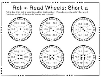 Roll & Read Wheels for Short Vowels -- Real and Nonsense Words