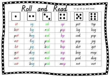 Roll & Read - Word Families, CVC words, Short Vowel Sounds. Great for kinder.