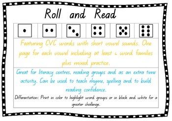 Roll & Read - Word Families, CVC words, Short Vowel Sounds