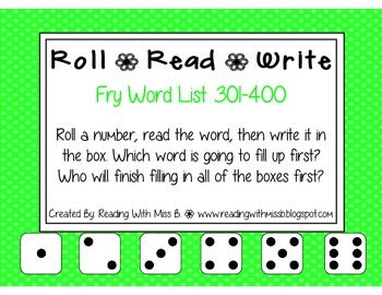 Roll Read Write --> (301-400 Fry List Sight Words/High Frequency Words)