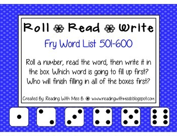 Roll Read Write --> (501-600 Fry List Sight Words/High Frequency Words)