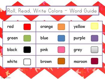 Roll, Read, Write - Colors