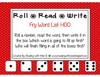 Roll Read Write --> (1-100 Fry List Sight/High Frequency Words)