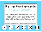 Roll Read Write --> (101-200 Fry List Sight Words/High Frequency Words)