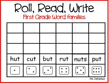 Roll Read Write First Grade Word Families