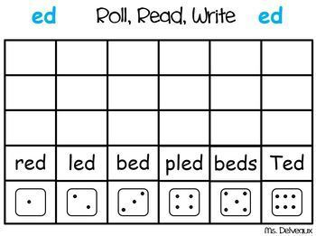 Roll Read Write First and Second Grade Word Family BUNDLE