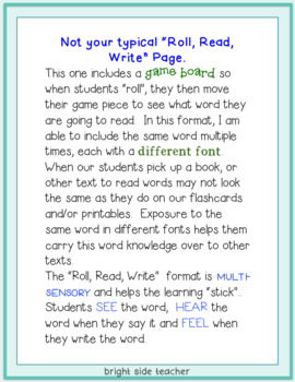 Roll Read Write Game Boards- Sight Word Edition- Editable
