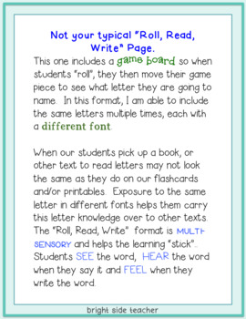 Roll Read Write- Letter Edition- Editable