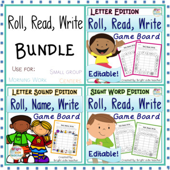 Roll Read Write Letter, Letter Sound and Sight Word Learning Bundle