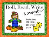 November Word Work {Roll, Read, Write - November}