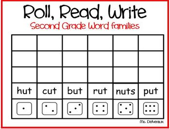 Roll Read Write Second Grade Word Families