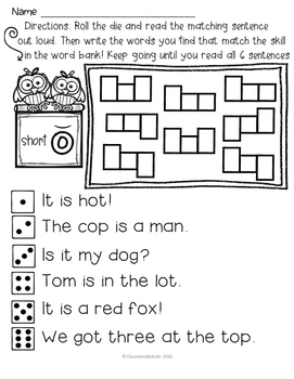 Roll, Read, Write - Short O - phonics sample!