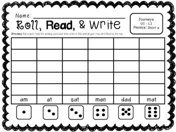 Roll, Read, & Write Word Work for the Year [Journeys Grade 1]