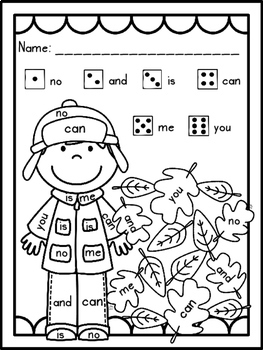 Sight Words: Roll, Read, & Color: Autumn Days; F&P High Frequency Words 1-25