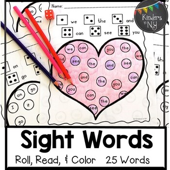 Sight Words: Roll, Read, & Color: Valentine's Day; F&P High Frequency Words 1-25