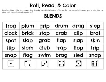 Roll, Read, and Color BLENDS