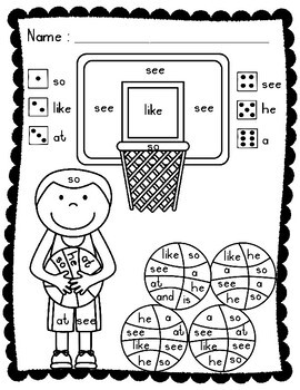 Sight Words: Roll, Read, and Color: Basketball; F&P High Frequency Words 1-25