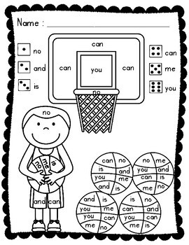 Sight Words: Roll, Read, and Color: Basketball; F&P High ...