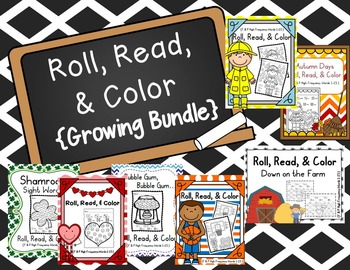 Sight Words: Roll, Read, & Color: Growing Bundle