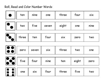Roll, Read and Color Number Words