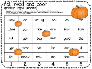 Roll, Read and Color Sight Word FREEBIE!