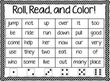 Roll, Read, and Color Treasures 1st Grade High Frequency Words
