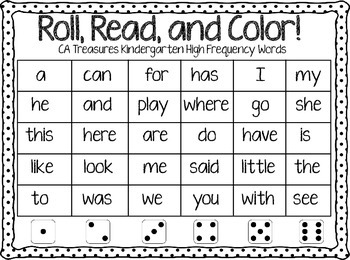 Roll, Read, and Color Treasures Kindergarten High Frequency Words