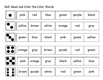 Roll, Read and Color the Color Word