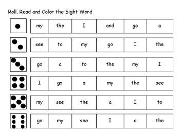 Roll, Read and Color the Sight Word