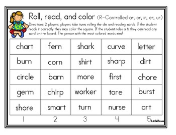 Roll, Read, and Cover R-Controlled Vowels