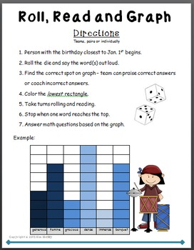 Roll Read and Graph - Sound Science Vocabulary Game