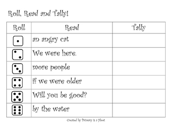 Roll Read and Tally First Grade Fluency Phrases