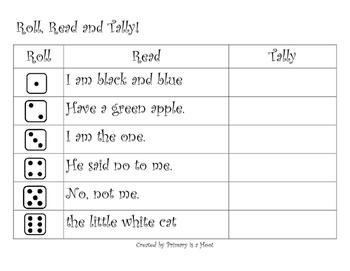 Roll Read and Tally Kindergarten Fluency Phrases