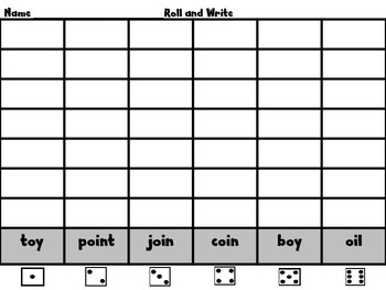 """Roll, Read, and WRITE!  Scott Foresman Unit 5 /oi/ and /oy/ as in """"boy"""""""