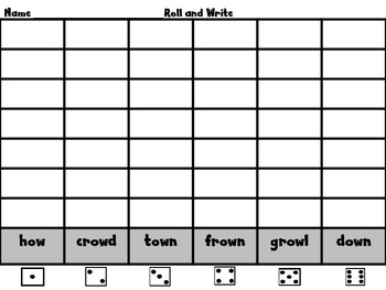 """Roll, Read, and WRITE!  WORD WORK  Scott Foresman Unit 5 /ow/ as in """"how"""""""