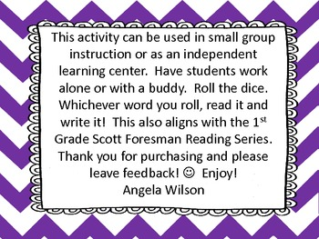 Roll, Read, and WRITE! Word Work Scott Foresman Unit 1 short e