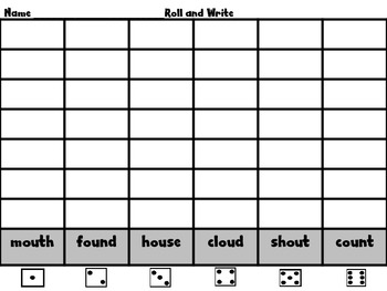 """Roll, Read, and WRITE! Word Work Scott Foresman Unit 5 /ou/ as in """"out"""""""