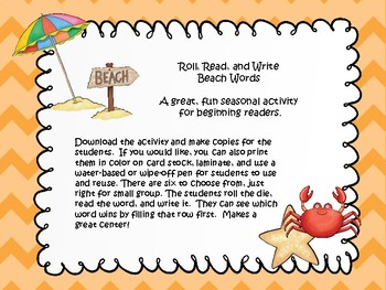 Roll, Read, and Write Beach Words