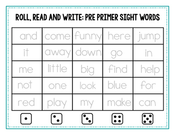 Roll, Read and Write {Dolch Pre-Primer Sight Words}