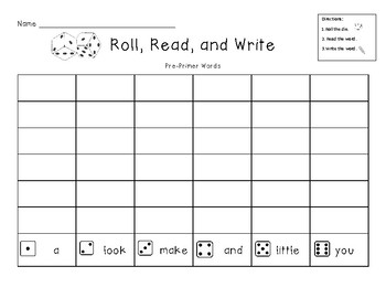 Roll, Read, and Write Dolch Sight Words Pre-Primer, Primer, and Levels 1-3