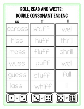 Roll, Read and Write {Double Consonant Endings}