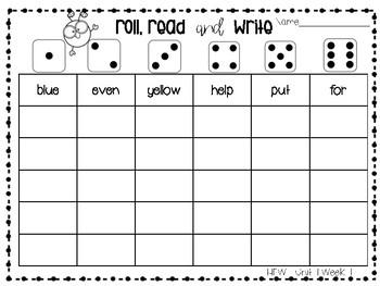 Roll, Read, and Write McGraw Hill Wonders Grade 2 Unit 1 Week 1 FREEBIE
