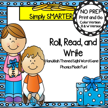Roll, Read, and Write:  NO PREP Hanukkah Themed Sight Word Game