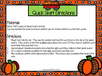 Roll, Read, and Write:  NO PREP Pumpkin Themed Sight Word Game